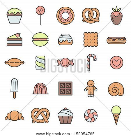 Sweets outline multicolored icons vector set. Clean and simple design.