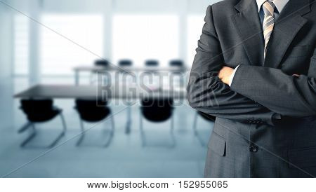 Businessman in conference room getting ready for a meeting