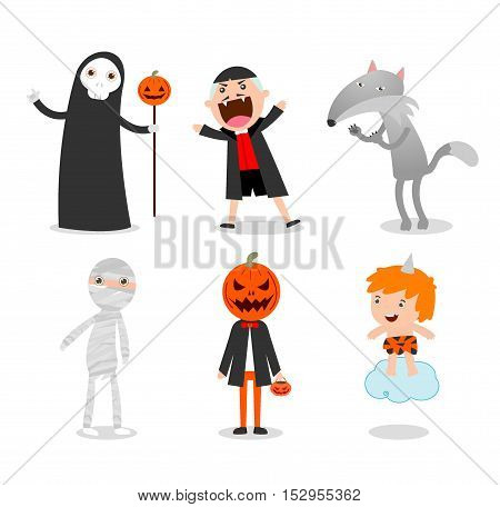 people wearing Halloween monster costume on white background, Cute person wearing Halloween monster costume, Happy Halloween, Halloween Party,children Halloween, kids Halloween,vector illustration