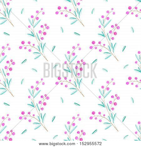 Floral seamless pattern with berry.Pencil hand drawn illustration.White background.