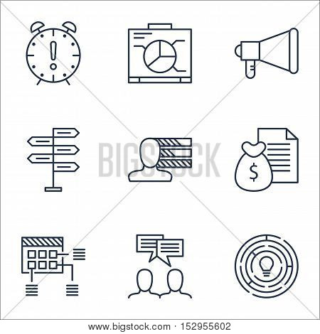 Set Of Project Management Icons On Announcement, Board And Report Topics. Editable Vector Illustrati