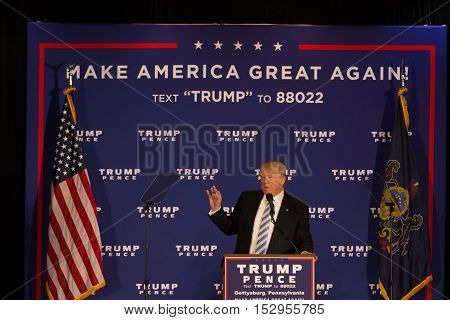 Gettysburg PA USA - October 22 2016: Presidential candidate Donald Trump announces his plans for the first 100 days of his administration.