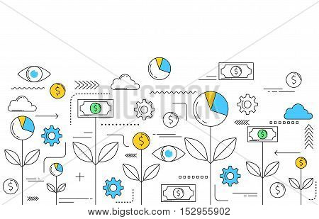 Business funding concept line style vector illustration