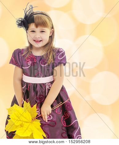 On a brown background with white blurred circles. Nice little girl dressed in brown dress. She is holding a bouquet of maple leaves.