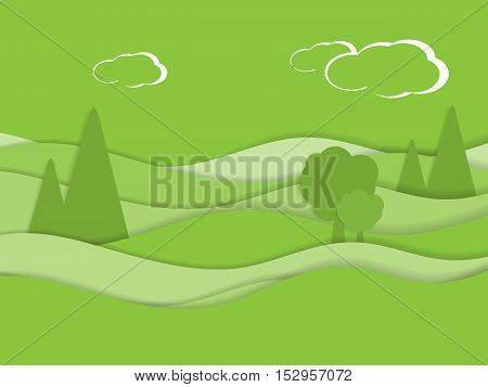 Summer meadow view. Flat style vector illustration.Eps10