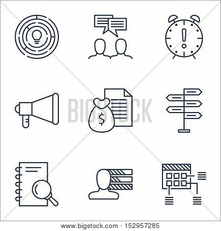 Set Of Project Management Icons On Personal Skills, Schedule And Discussion Topics. Editable Vector