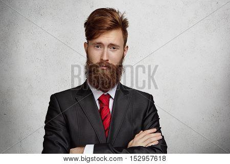 Business, Success And Achievement Concept. Portrait Of Attractive Successful Confident Young Busines