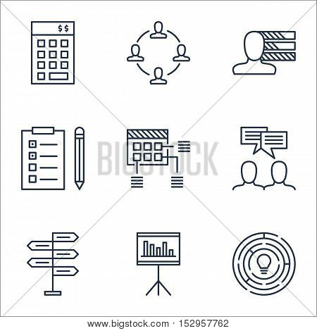 Set Of Project Management Icons On Investment, Innovation And Collaboration Topics. Editable Vector