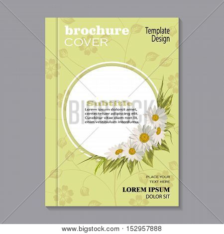 Modern vector template for brochure cover in A4 size. Beautiful white daisies on yellow background with floral pattern.