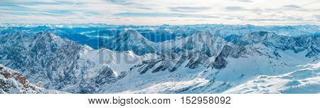 Panorama of the Alps peaks covered with snow in winter