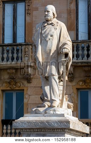 Marble statue of general Giuseppe Garibaldi erected in 1890 by Leonardo Croce in front of the former Grand Hotel at Piazza Garibaldi in Trapani Sicily