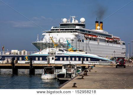 TRAPANI ITALY - AUGUST 11 2016: Port of Trapani transit thousands of passengers towards the Egadi Islands Pantelleria North Africa and many other locations.
