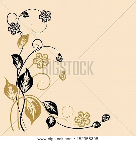 Simple floral pattern in black and yellow colors with place for your text.