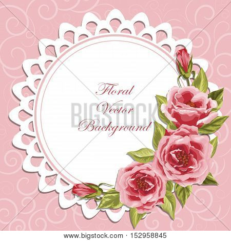 Delicate round frame with roses on pink background with swirl pattern for greeting card or invitation design.