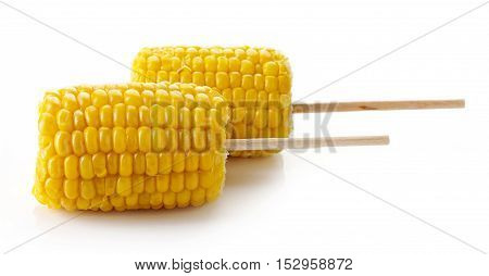 Sweet Coen On The Cob, Isolated On White