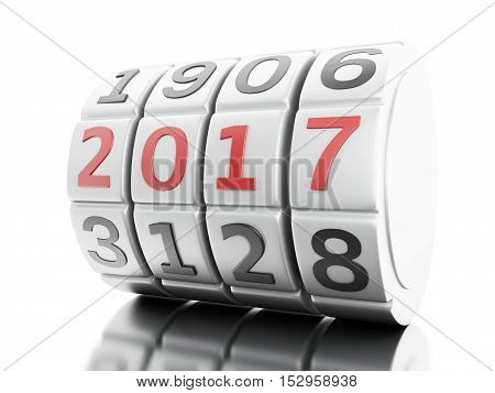 3d renderer image. Combination lock dialing. New year concept. Isolated white background.