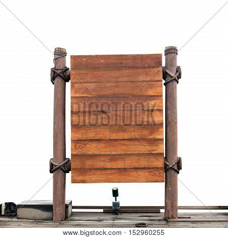 wooden signboard on white background . .