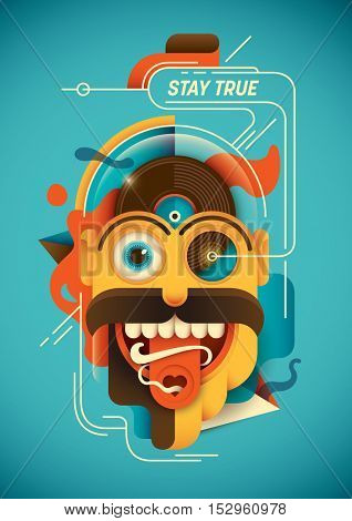 Conceptual illustration with abstract comical character. Vector illustration.