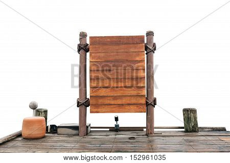 wooden signboard and wood floor on white background