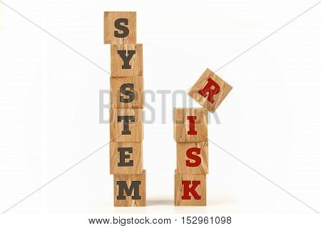 System and Risk word written on cube shape wooden surface isolated on white background.