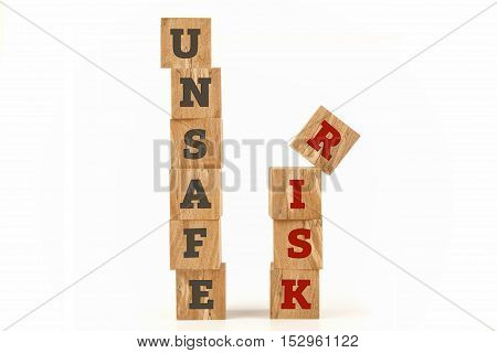 Risk consept on cube shape wooden surface isolated on white background.