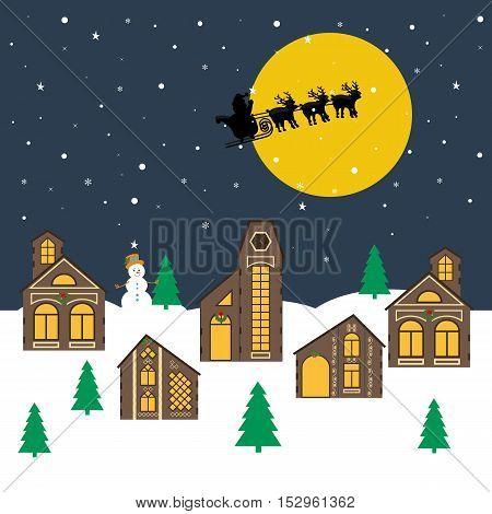 Christmas night illustration. Christmas village and Santa Claus on the sky. Vector illustration
