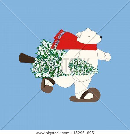 Polar bear and christmas tree illustration on the blue background. Vector illustration
