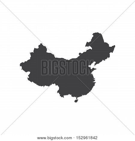 Republic of China map silhouette on the white background. Vector illustration