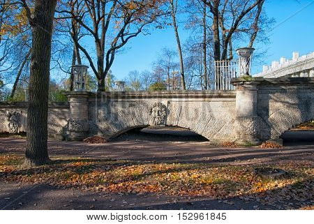 TSARSKOYE SELO, SAINT - PETERSBURG, RUSSIA - OCTOBER 19, 2016: The Ramp with mask of the ancient deity in Catherine Park near Cameron Gallery. The Tsarskoye Selo is State Museum-Preserve.