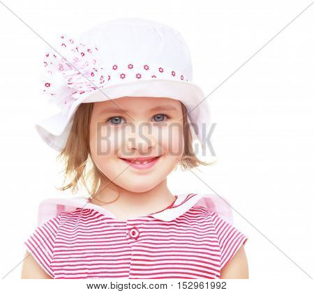 Portrait of beautiful little blond girl in a white hat with a pink bow. Close-up.Isolated on a white background.