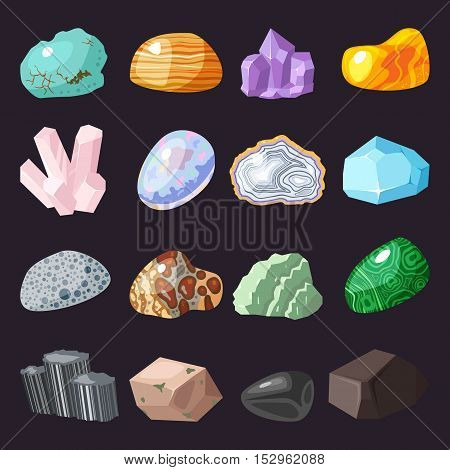 Collection set of semi precious gemstones stones and mineral stone isolated on black background. Colorful shiny gemstone. Mineral stone jewelry material agate mineral stone geology nature crystal.