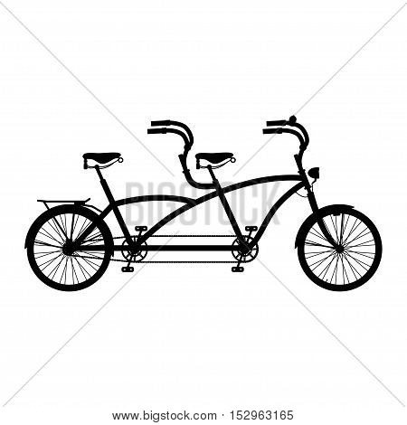Retro styled silhouette tandem bicycle isolated on a white background.