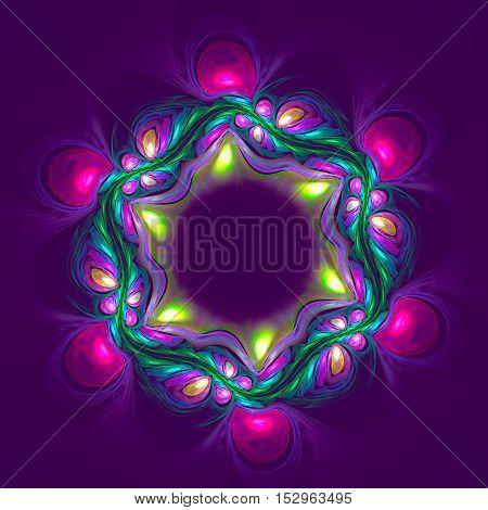 Abstract vilet flower on dark background. Fractal artwork for creative design.