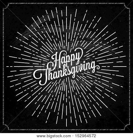 Thanksgiving logo with sunburst on black background 10 eps