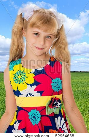 Sweet, adorable little girl with long blonde ponytails on her head tied with white bows. Close-up.On the background of bright green grass and blue sky with beautiful clouds.