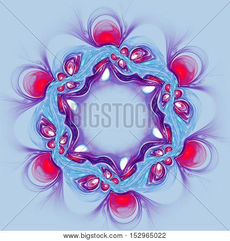 Abstract red flower on blue background. Fractal artwork for creative design.