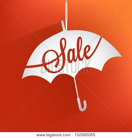Autumn card sale. Red background with volume umbrella and inscription SALE. Vector illustration