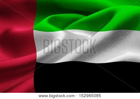 Close up of fabric texture of the flag of United Arab Emirates