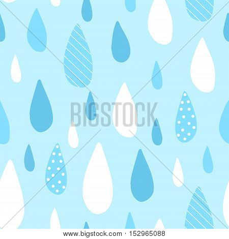 Seamless pattern with blue raindrops. Vector rainy background.