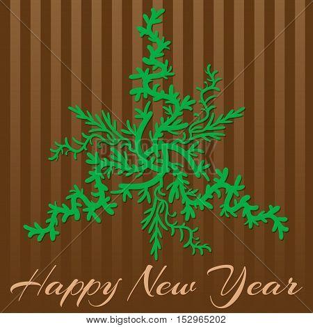 Retro stylish winter card, hand-drawn snowflakes. Happy New Year