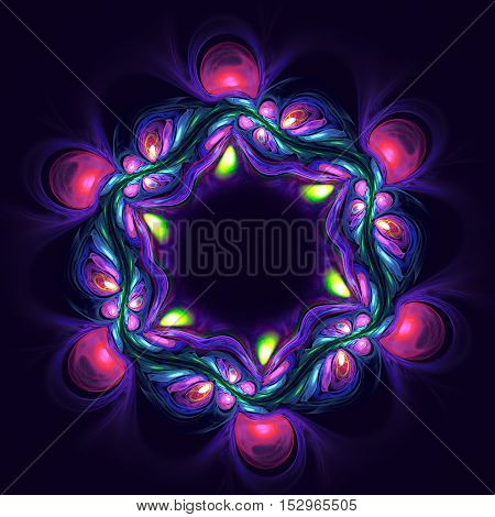 Abstract violet flower on dark background. Fractal artwork for creative design.