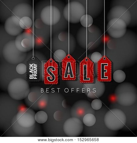 Black Friday sale tags on abstract lights background 10 eps