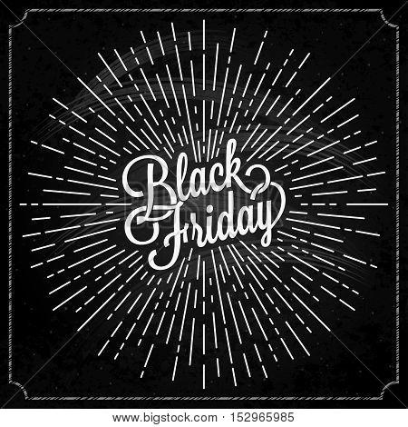 Black Friday logo with sunburst on black background 10 eps