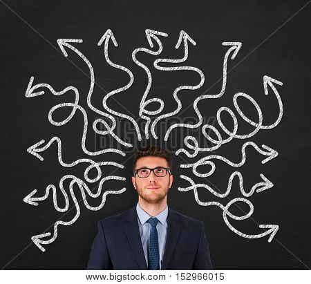 Confused young businessman Working Conceptual Business Concept