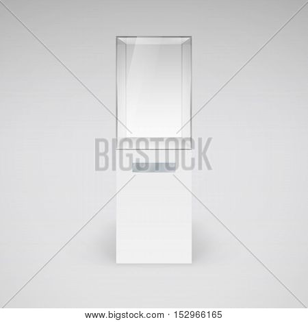 Empty Glass Showcase for Presentation on White