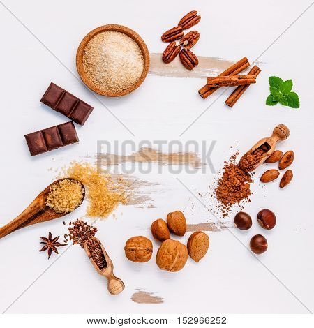 Whole Wheat Chocolate Cake's Ingredients On White Wooden Background
