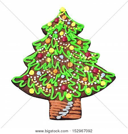 Gingerbread in the form of Christmas tree isolated on white