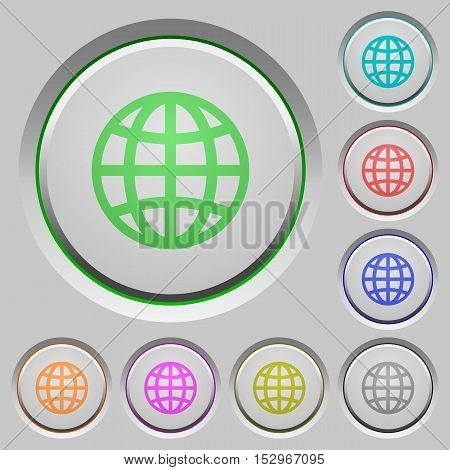 Globe color icons on sunk push buttons