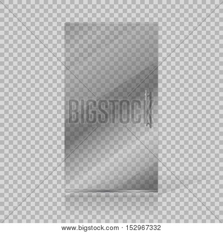 Vector transparent glass doors fashion boutique on checkered background