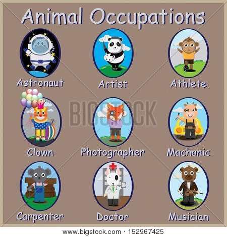 The Animals Occupations.panda fox dog cow cola monkey.